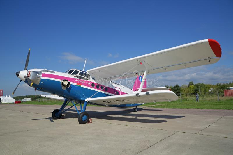 Antonov An-2-100. ZHUKOVSKY, MOSCOW REGION, RUSSIA - AUG 26, 2019: Modernized retro-plane Antonov An-2-100 is Soviet mass-produced single-engine biplane at the royalty free stock image