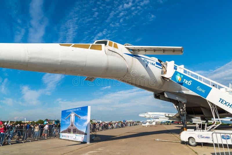 Zhukovsky, Rusland - Juli 24 2017 Tupolev Turkije-144 vliegtuig was eerste in vliegtuigen van het wereld de commerciële supersoni stock afbeeldingen