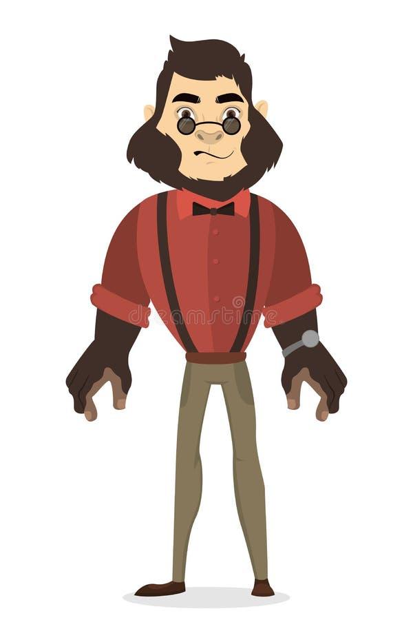 Zhumanizowany goryla mężczyzna ilustracja wektor