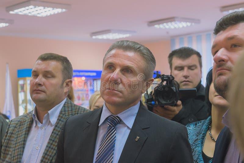 Zhytomyr, de Oekraïne - September 05, 2015: Voorzitter van het Olympische Comité Sergiy Bubka van de Oekraïne op Zhytomyr-confere stock foto