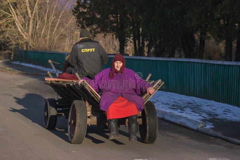Zhytomyr, Ucrânia - 3 de outubro de 2015: mulher superior que senta-se em puxado a cavalo velho fotografia de stock