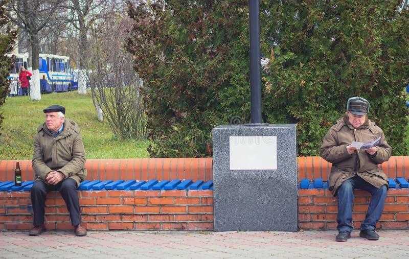 Zhytomyr, Ucrania - 19 de octubre de 2015: Dos caballeros mayores que se sientan y que se relajan en un banco de madera en un par imagenes de archivo
