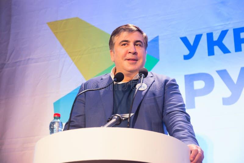 ZHYTOMYR UKRAINA - Februari 28, 2016: Mikheil Saakashvili på anti--korruption forum arkivfoto