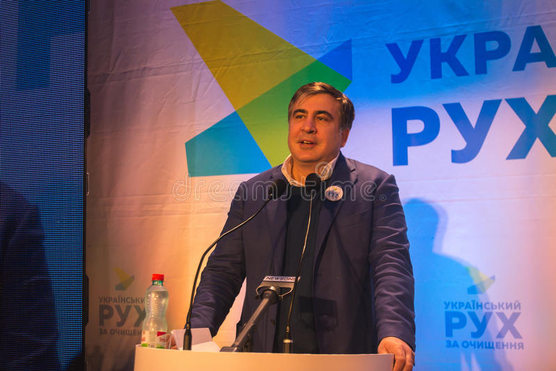 ZHYTOMYR UKRAINA - Februari 28, 2016: Mikheil Saakashvili på anti--korruption forum arkivfoton