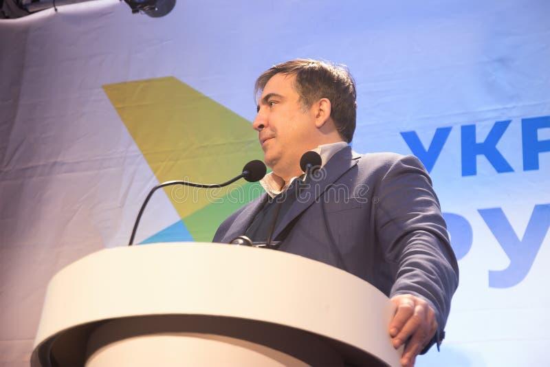 ZHYTOMYR UKRAINA - Februari 28, 2016: Mikheil Saakashvili på anti--korruption forum royaltyfri fotografi