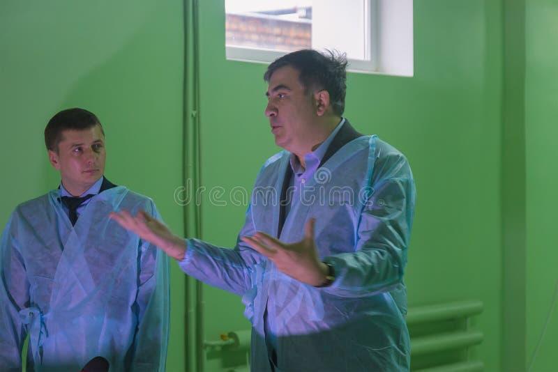 ZHYTOMYR, UKRAINE - February 28, 2016: Mikheil Saakashvili on anti-corruption forum at college. ZHYTOMYR, UKRAINE - February 28, 2016: Mikheil Saakashvili on stock images