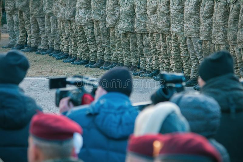 Zhytomyr, Ukraine - November 21, 2018: President Poroshenko visited training center of airborne troops royalty free stock images