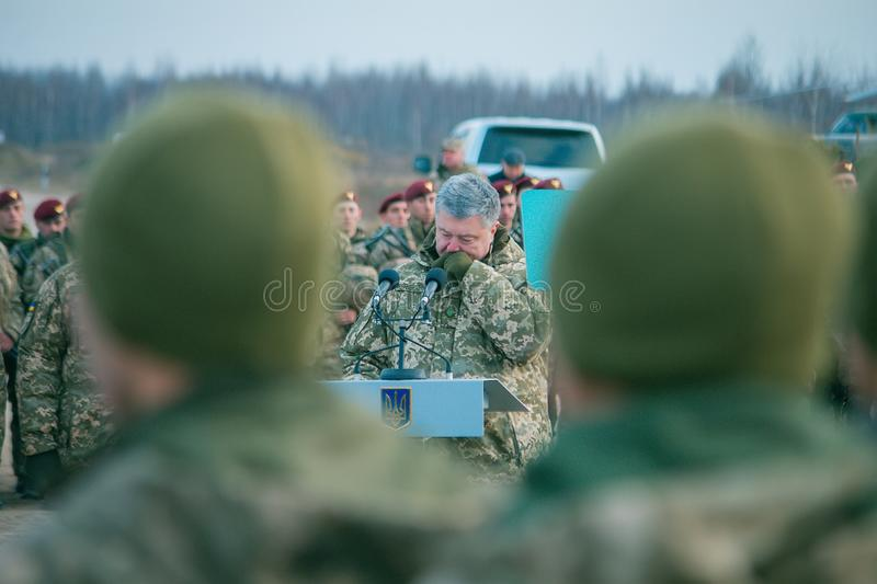 Zhytomyr, Ukraine - November 21, 2018: President Poroshenko visited training center of airborne troops stock image