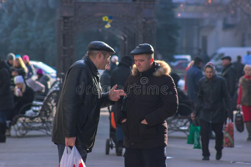 Zhytomyr, Ukraine - September 03, 2015: man want to explain something stock photo
