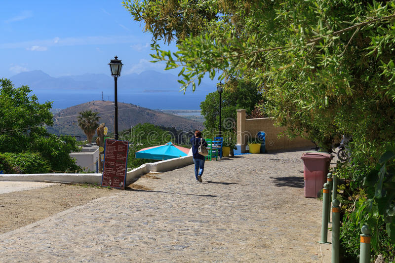 Zia, Greece. Beautiful view on sea and some Greece islands from Zia village on Kos stock image