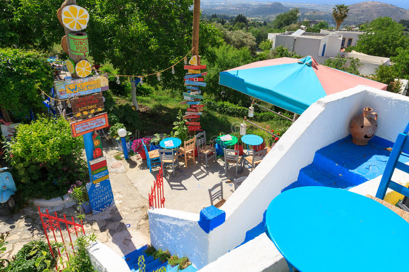 Zia, Greece. May 10, 2017: Colorful The Watermill bar in Zia village on Kos island stock image