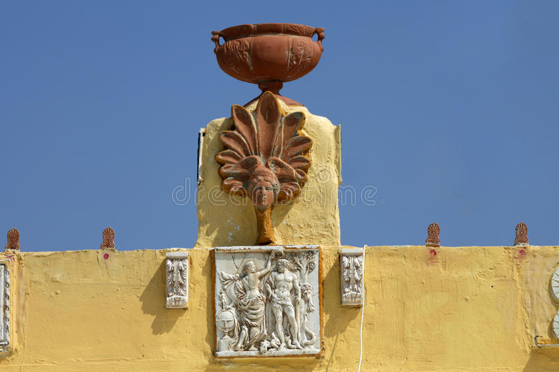 Zia. Kos Island, Greece. Sculptures on the roof of a house in a traditional Greek village of Zia. Kos Island, Greece royalty free stock images