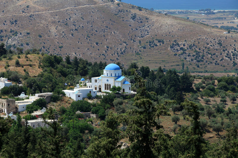 Zia, Kos Island, Greece. Typical Greek Orthodox church with blue domes on Kos. Dodecanese. Greece stock photography