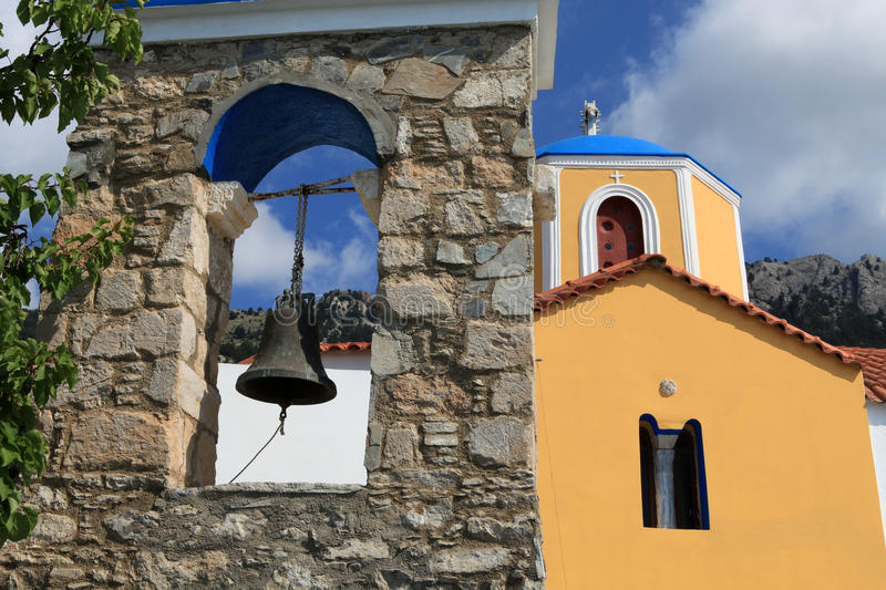 Zia, Kos Island, Greece. Typical Greek Orthodox church with blue domes on Kos. Dodecanese. Greece royalty free stock photos