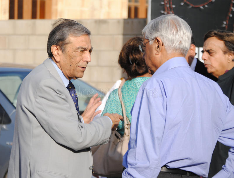 Zia Mohyeddin. A close up of Zia Mohyeddin during his meetup with another artist at NAPA at Karachi, Zia Mohyeddin (born June 20, 1933) is a Pakistani actor royalty free stock image