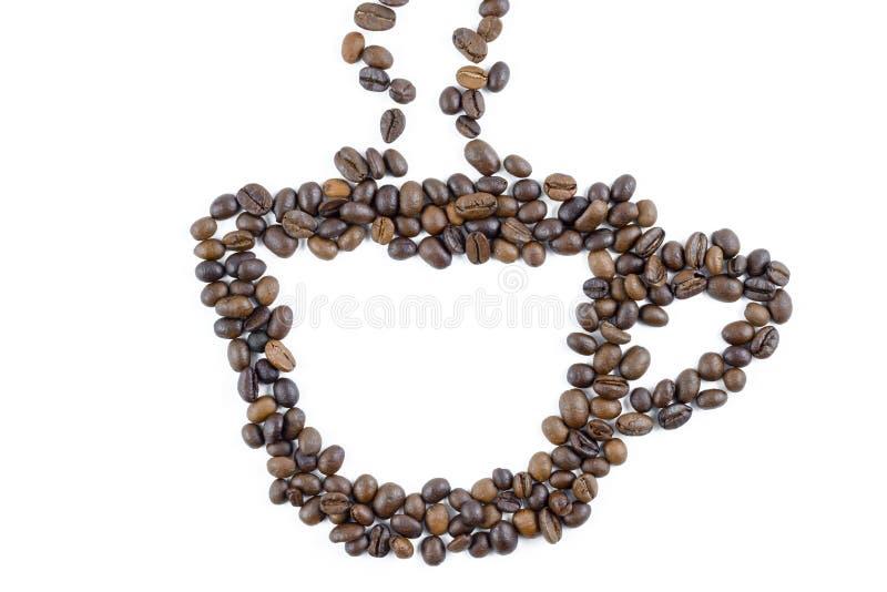 Ziarna kawy i proszek do kawy na filtrze ziemniaczanym wyizolowanym na białym tle obraz royalty free