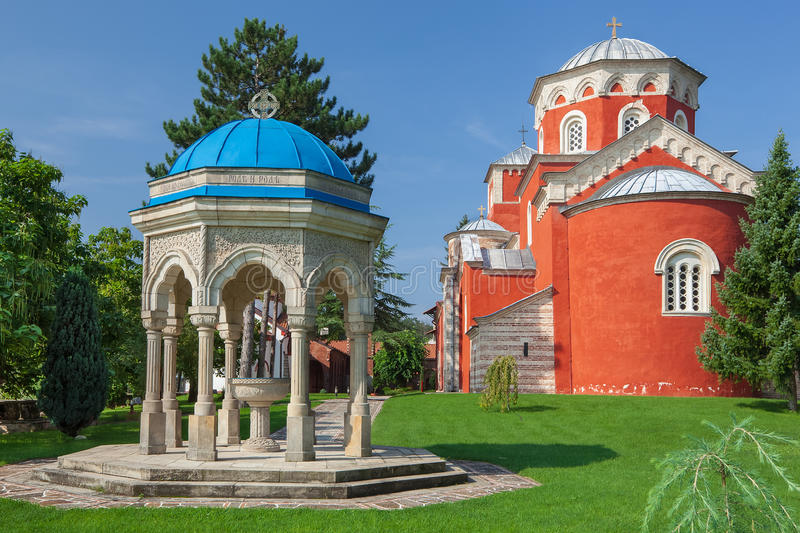 Download Zica monastery complex stock photo. Image of canopy, baptistery - 43385502