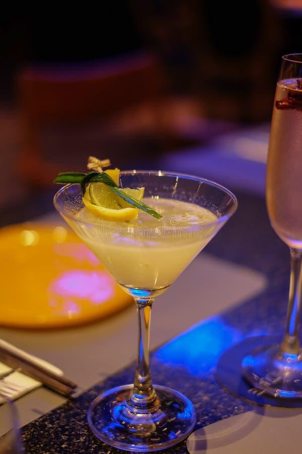 Zich verfrist en geniet van het concept van de cocktaildrank het bevroren verse de cocktailglas van de vruchtensapmengeling op va stock fotografie