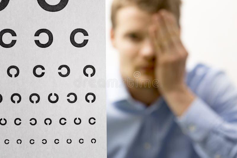 Zichtcontrole mannelijke patiënt onder het onderzoek van de oogvisie nadruk stock foto's
