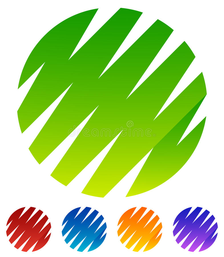 Zickzack, kreuzweise Linien, die Kreisformen bilden Grün, rot, blau stock abbildung