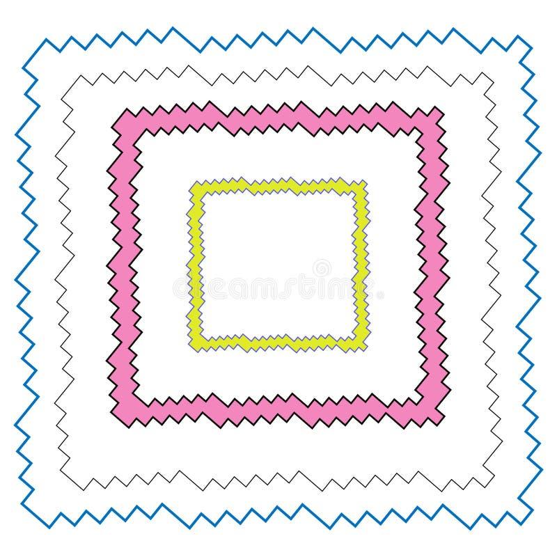 Zickzackgrenzen und -rahmen stellten blaues Schwarzes rosa und gelbe Farbrechteckige Form ein stock abbildung