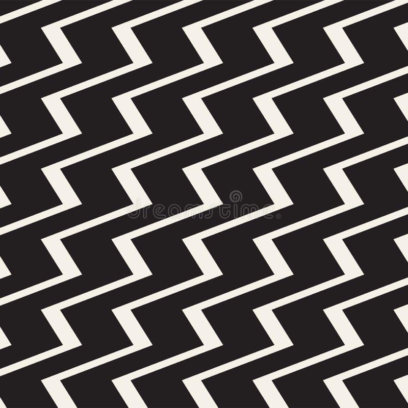 Zickzacklinien Oberfläche Nahtloses Muster der gezackten Streifen Vektorentwurf mit Wellen Wiederholte Sparren tapezieren Verzier stock abbildung