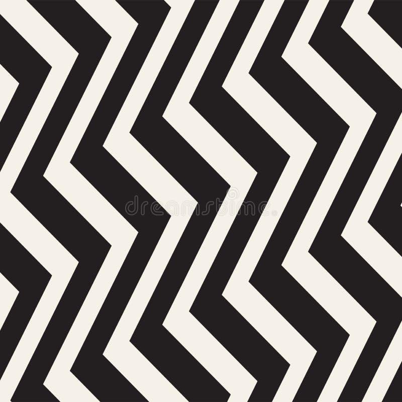 Zickzacklinien Oberfläche Nahtloses Muster der gezackten Streifen Vektorentwurf mit Wellen Wiederholte Sparren tapezieren Verzier lizenzfreie abbildung