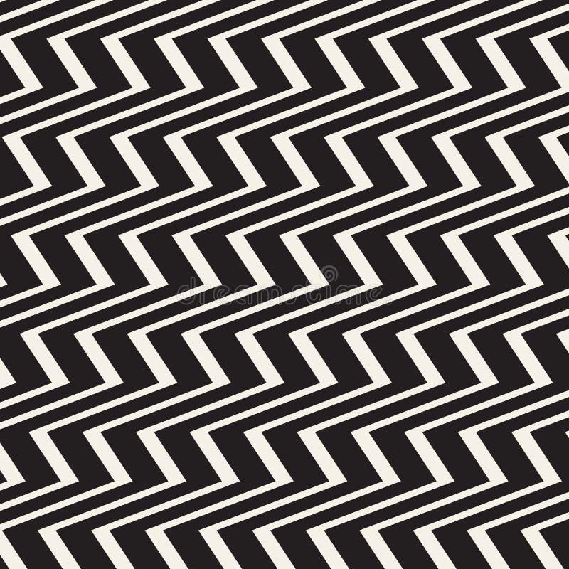 Zickzacklinien Oberfläche Nahtloses Muster der gezackten Streifen Vektorentwurf mit Wellen Wiederholte Sparren tapezieren Verzier vektor abbildung