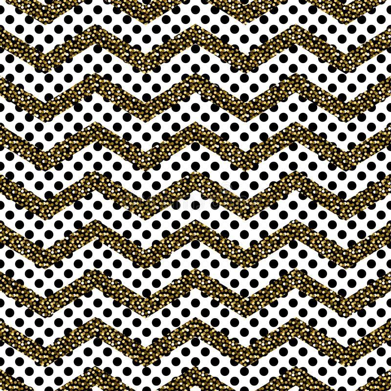 Zickzackwinkel-Wellenlinien mit nahtlosem Vektormuster des Goldfunkelns stock abbildung