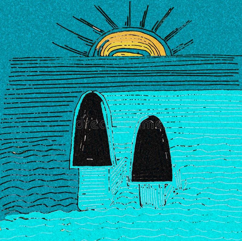 Zie de zonsondergang door het overzees Blauwe en gele kleuren stock illustratie