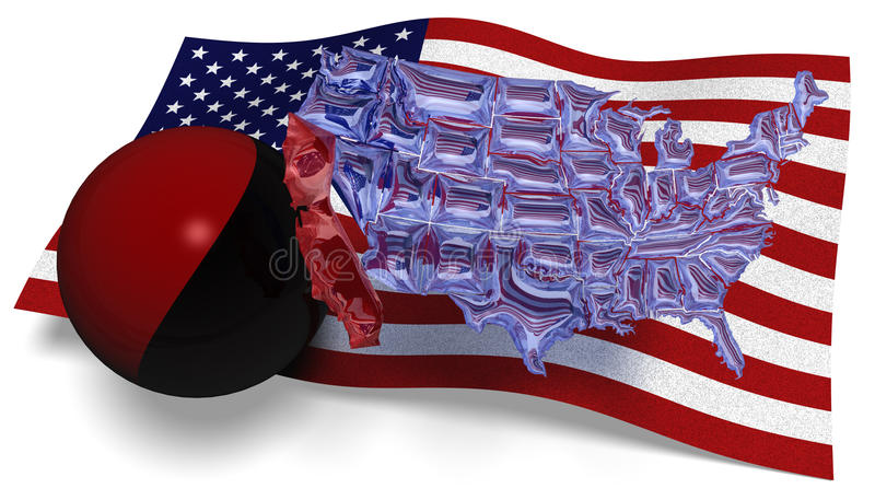 Zie door kaart van Amerika tegen een vlag van de V.S. stock illustratie