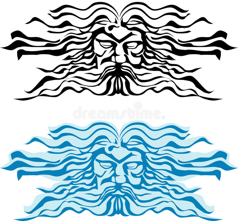 Zie god van het overzees, Poseidon of Neptun onder ogen. vector illustratie