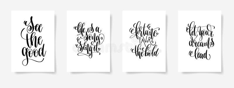 Zie het goed, is het leven een lied zingt het, fortuingunsten de vette letters, l vector illustratie