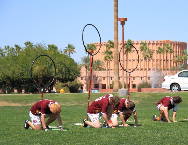 Quidditch: Bezems omhoog! stock foto