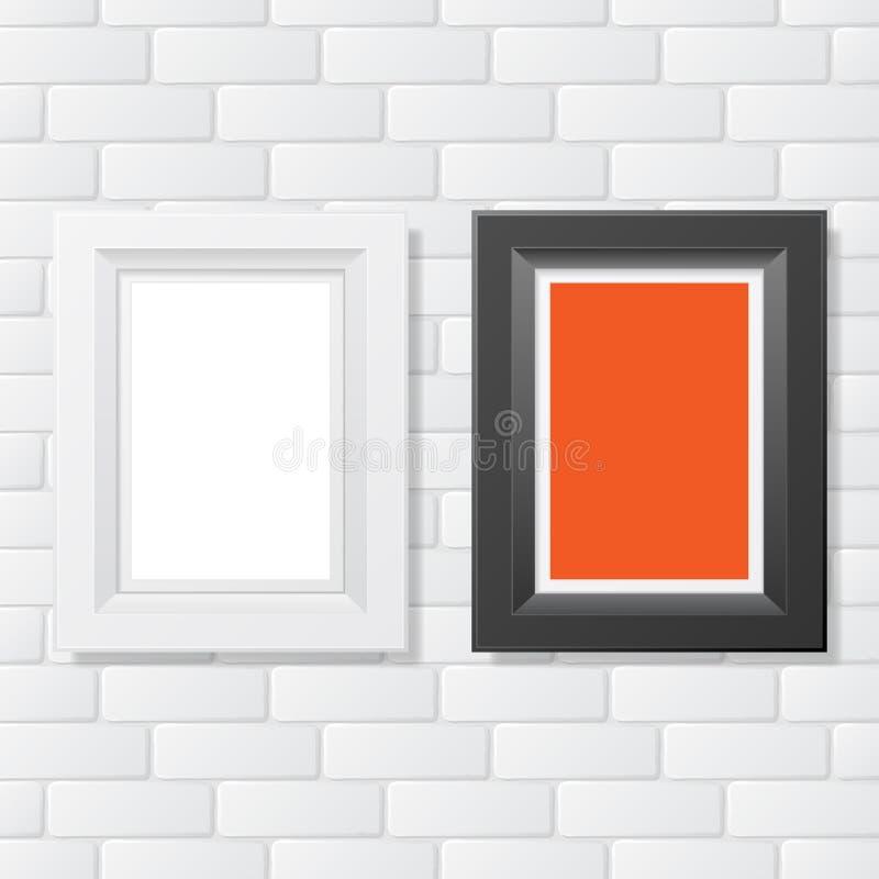 Ziegelstein mit zwei Bilderrahmen lizenzfreie abbildung