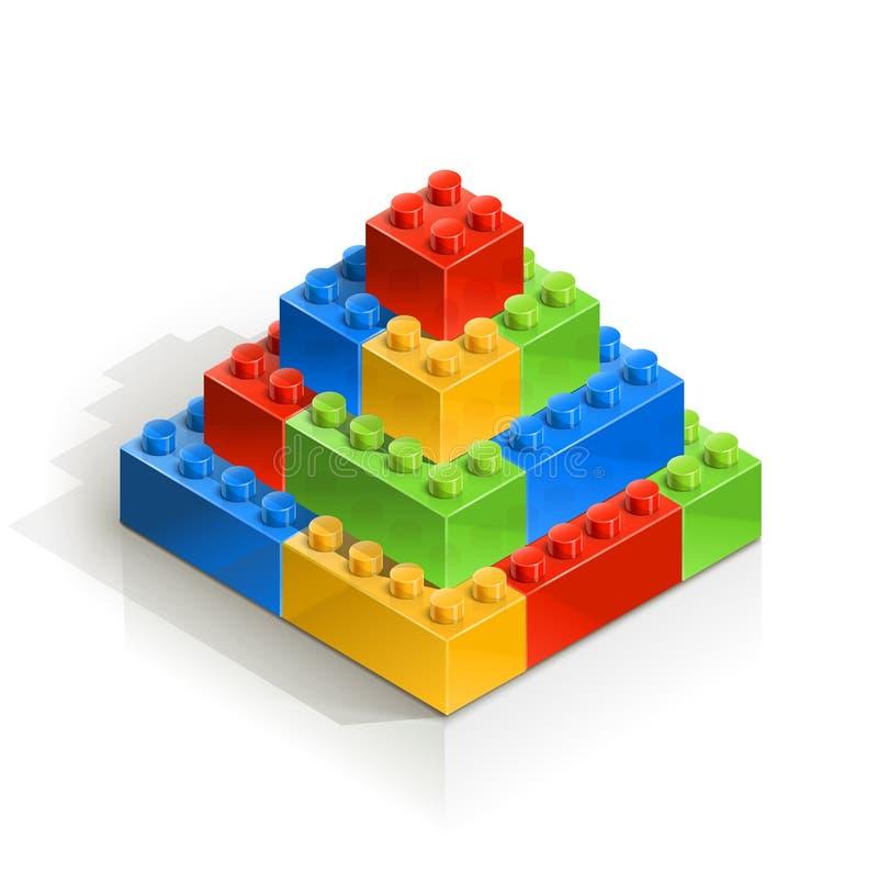 Ziegelstein piramid meccano Spielzeug lizenzfreie abbildung