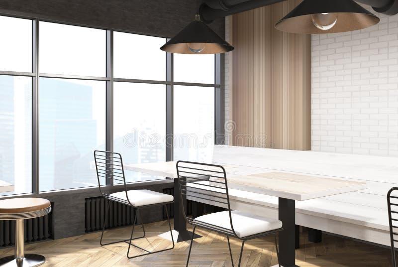 Ziegelstein und hölzerner Caféinnenraum, Ecke lizenzfreie abbildung