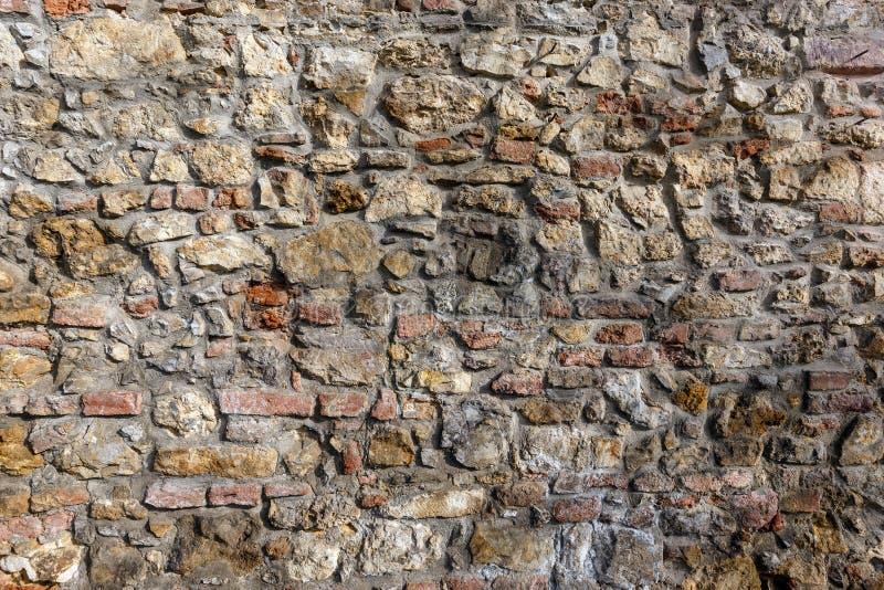 Ziegelstein- und Steinwanddetail stockfotografie