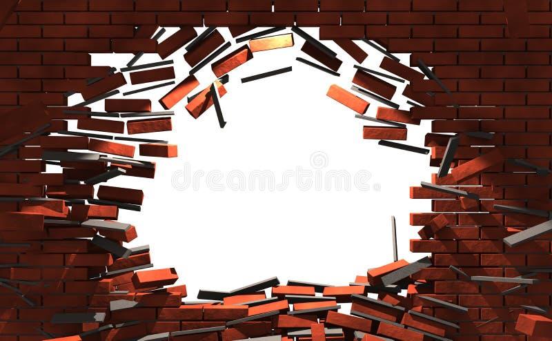 Ziegelsteine gebrochene Wand lizenzfreie stockfotos