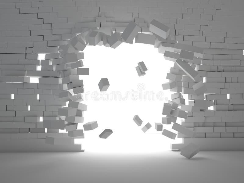 Ziegelsteinexplosion lizenzfreie abbildung