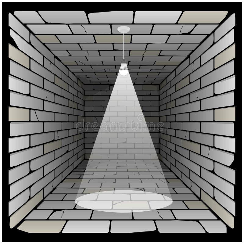 Ziegelsteinkasten in der Perspektive Raum 3d mit einer Glühlampe auf der Decke und der Beleuchtung vektor abbildung