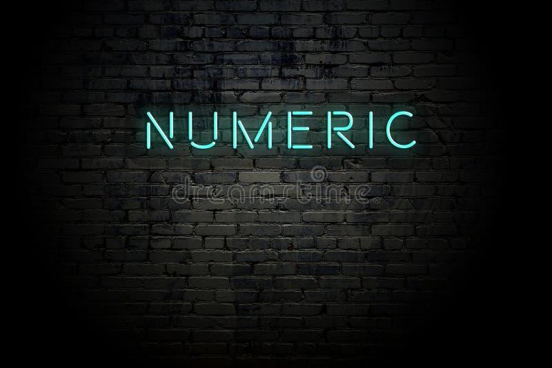 Ziegelwand mit Neonaufschrift numerisch hervorgehoben stock abbildung