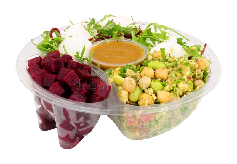 Ziegen-Käse und Rote-Bete-Wurzeln Salat-Schüssel stockbilder