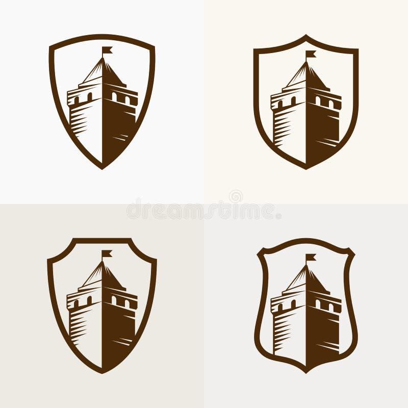 Ziehen Sie sich Festung auf Schild, Vektorikonenillustration zurück lizenzfreie abbildung