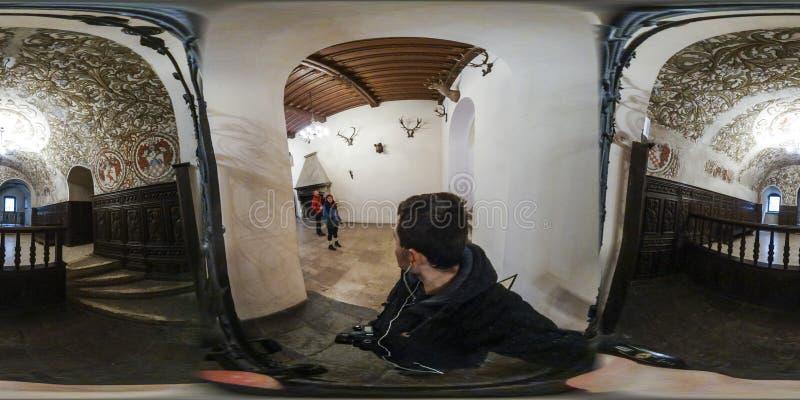 Ziehen Sie sich Räume in Zamek Ksiaz, Walbrzych Polen zurück stockfotografie