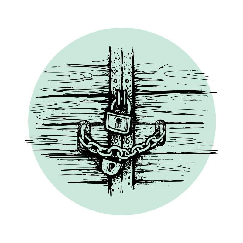 Ziehen Sie sich Tor-Vektorillustration mit arabischem mittelalterlichem Turmeingang der alten Weinlese mit Vorhängeschloß und gra stock abbildung