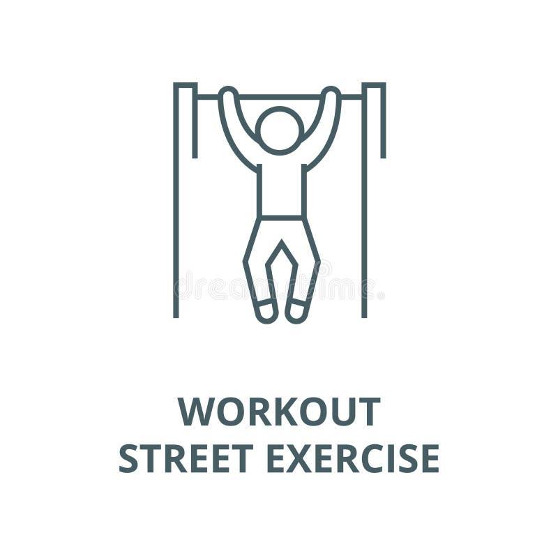 Ziehen Sie, Training, Straßenübungs-Vektorlinie Ikone, lineares Konzept, Entwurfszeichen, Symbol hoch stock abbildung
