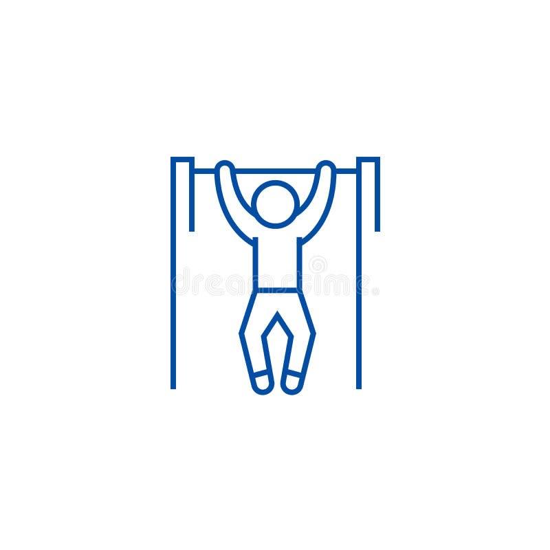 Ziehen Sie, Training, Straßenübungslinie Ikonenkonzept hoch Ziehen Sie, Training, flaches Vektorsymbol der Straßenübung, Zeichen, stock abbildung