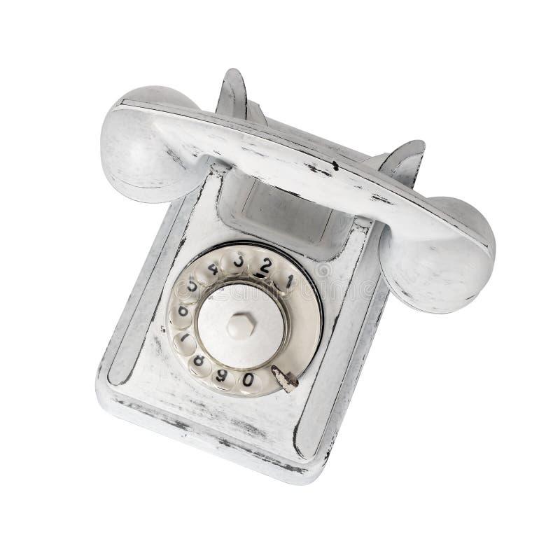 Ziehen Sie weißem Weinlesetelefon auf einem weißen Hintergrund ab Getrennt lizenzfreies stockbild