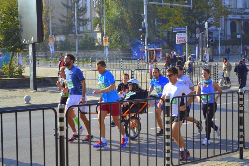 Ziehen von Rollstuhlläufern Sofia Bulgaria lizenzfreies stockbild